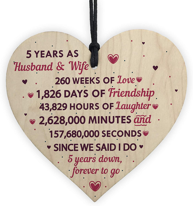 RED OCEAN 8th Wedding Anniversary Plaque Wooden Heart Five Year Wedding For  Her Husband Wife Keepsake