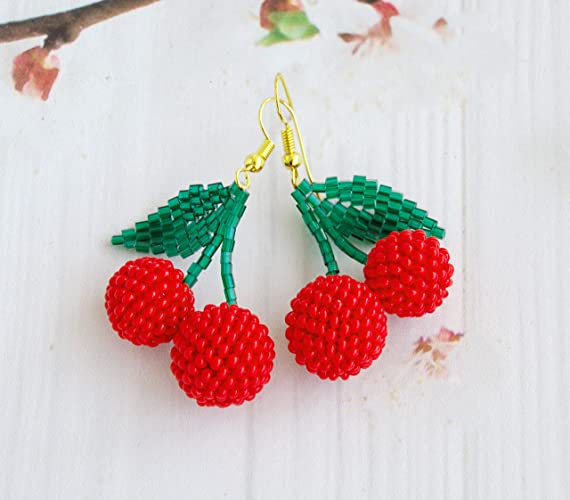 Double Red Beaded Cherry Earrings Wholesale