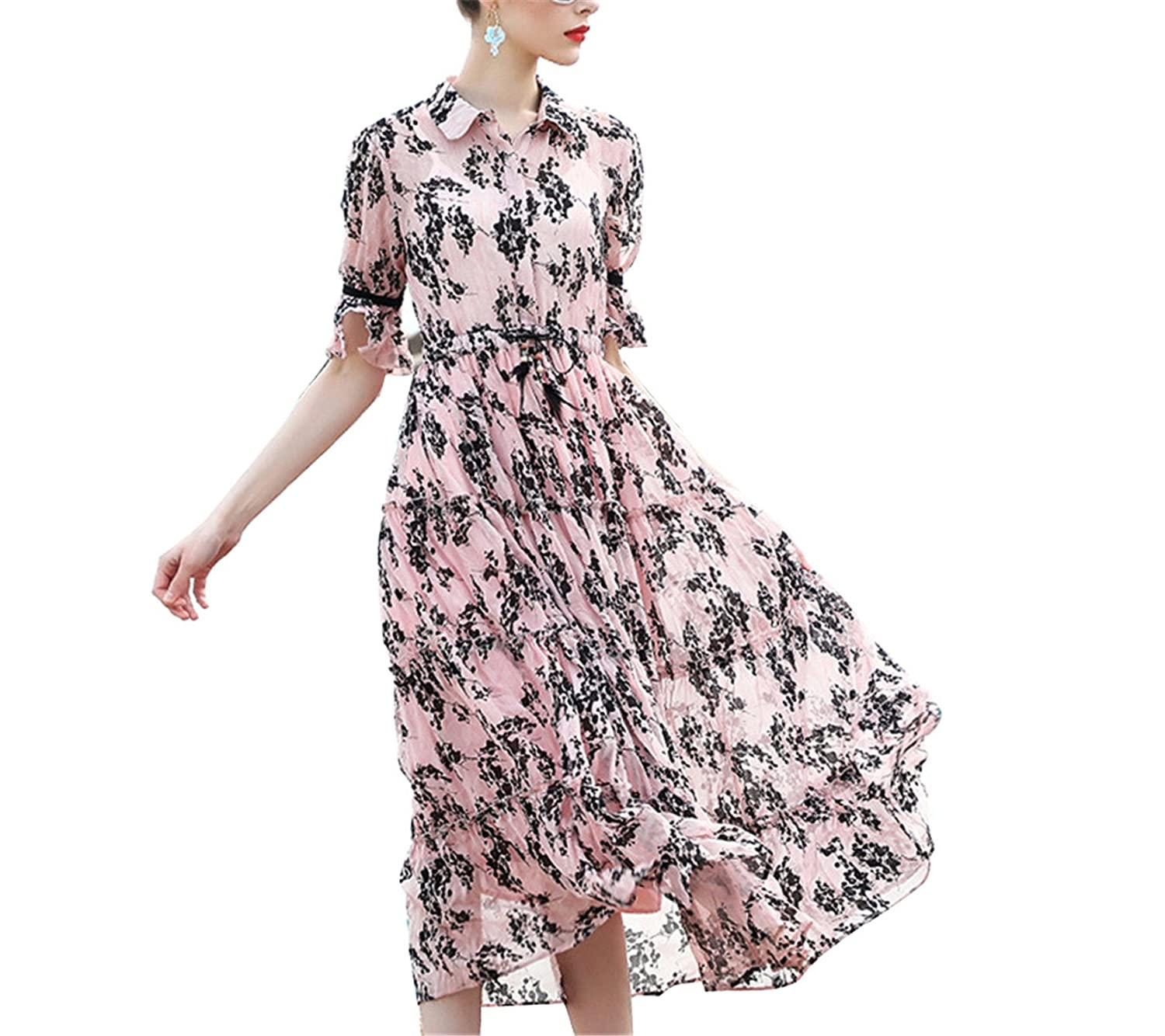 Amazon.com: Eloise Isabel Fashion boho chic long bEANh dress colarinho turn-down manga flare floral impresso túnica dress: Clothing