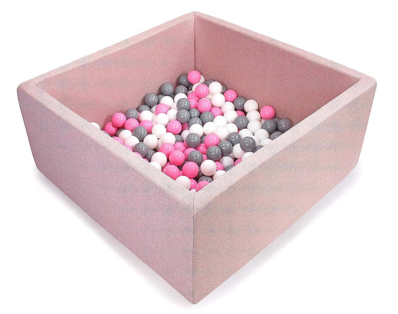 Piscine Rose Bébé  Bébé Rose, gris, Blanc  Tweepsy Bébé Piscine A Balles pour Enfants Bambin 250 Balles 90x90X40cm - Fabriqué en EU - BKWZ1N - Piscine Noire  Transparent, Rose Clair, Perle