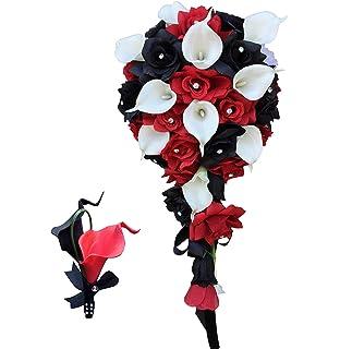 Amazon 8 wedding bouquet red black roses and naturual white 2pc setcascade bouquetmatching boutonniere blackredwhite silk roses mightylinksfo