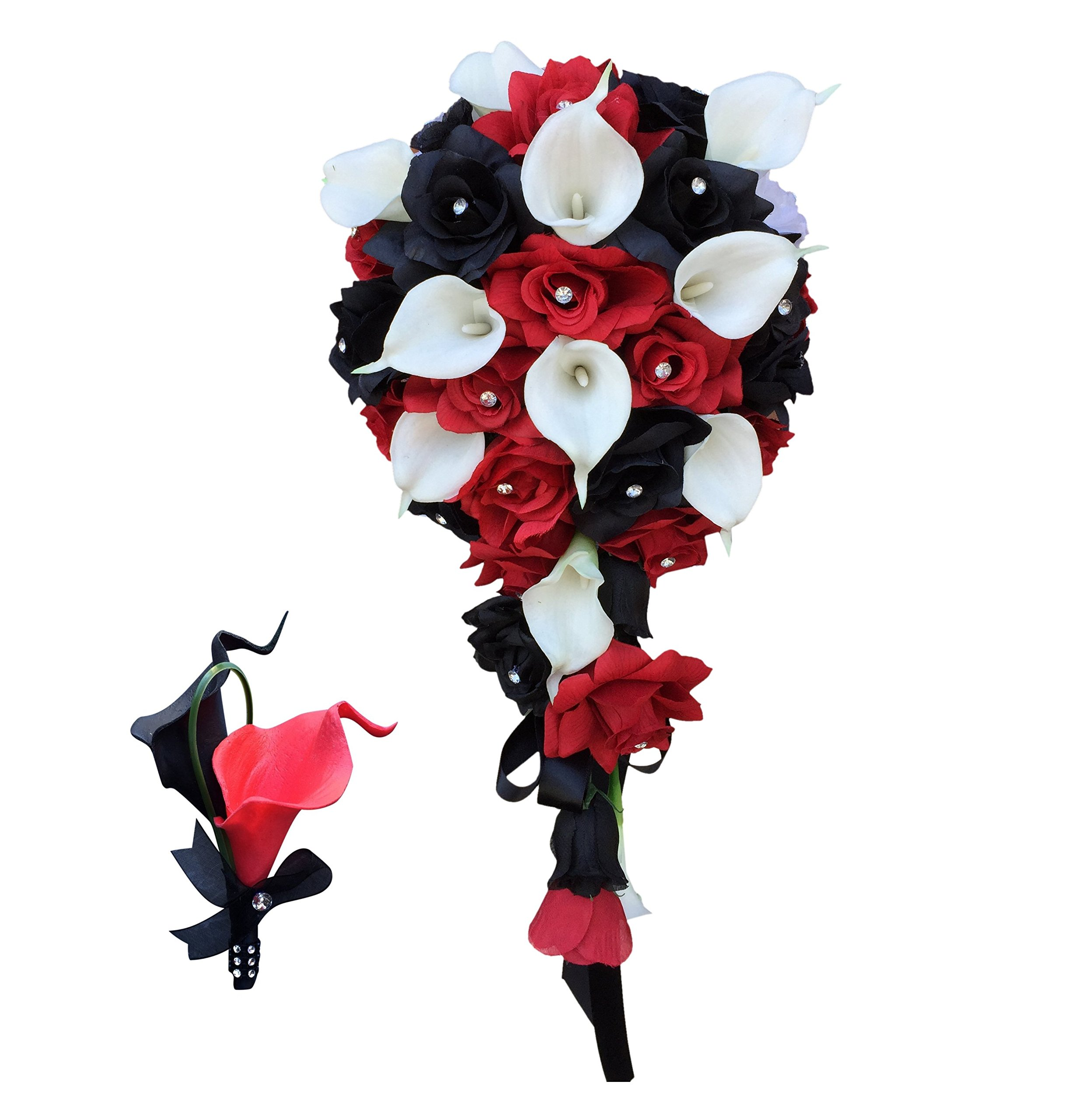 2pc Set:cascade Bouquet&matching Boutonniere-black,red,white-silk Roses,real Touch Calla Lily by Angel Isabella
