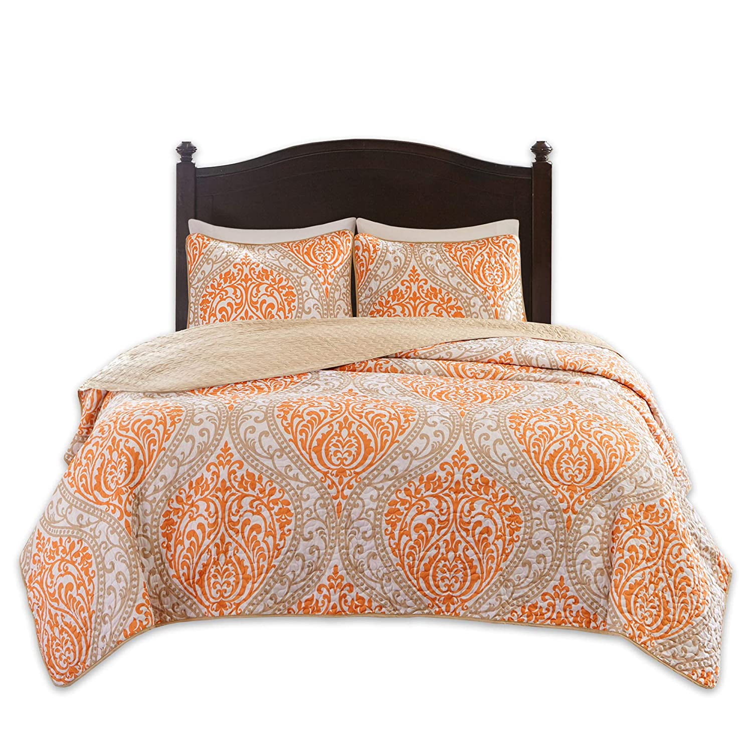 Comfort Spaces Coco 3 Piece Quilt Coverlet Bedspread Ultra Soft Printed Damask Pattern Hypoallergenic Bedding Set, Full/Queen, Orange - Taupe