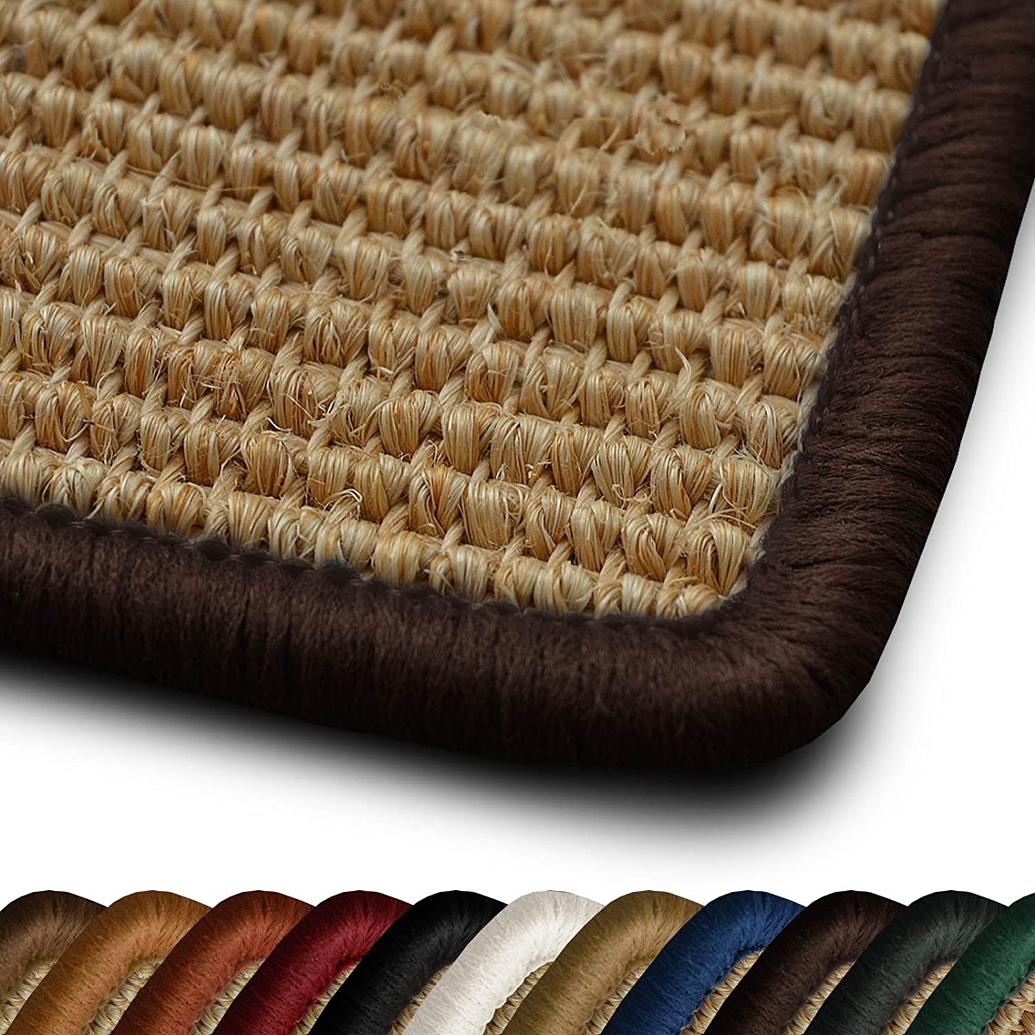 Living Room Rug Salvador Collection with Dark Brown Border 120 x 180 cm Anti-Static Kitchen Carpet With Non-Slip Latex Backing casa pura Natural Sisal Rug