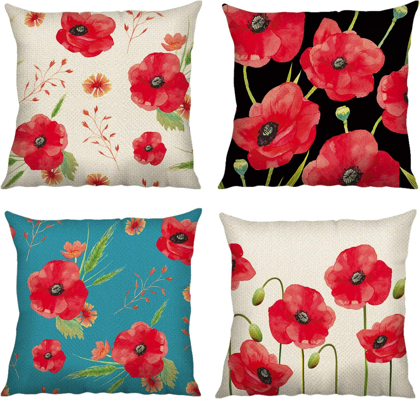 Bonhause Poppy Flower Cushion Covers 18 X 18 Inch Set Of 4 Red Floral Decorative Throw Pillow Covers Cotton Linen Square Pillowcases For Sofa Couch Car Bedroom Home Décor 45cm X 45cm