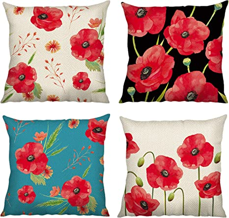 Amazon Com Bonhause Poppy Flower Throw Pillow Covers 18 X 18 Inch Set Of 4 Red Floral Decorative Throw Pillow Cases Cotton Linen Square Cushion Covers For Sofa Couch Car Bedroom Home Décor