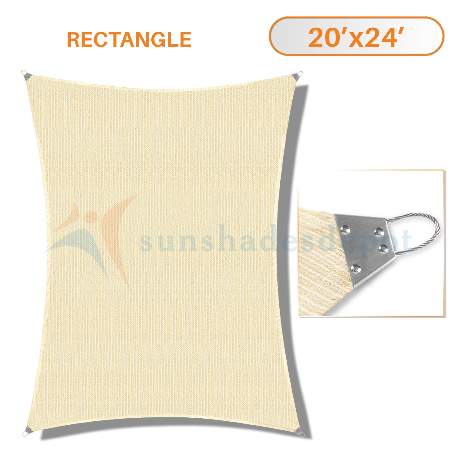 Sunshades Depot 20'x 24' Reinforcement Large Sun Shade Beige Rectangle Heavy Duty Metal Spring/Steel Wire Outdoor Permeable UV Block Fabric Durable Steel Wire Strengthen 160 GSM