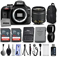 Nikon D3400 DSLR Camera 18-55mm Lens Deluxe Beginner Photographer Kit Featuring Backpack & 2X 32 GB SD Cards