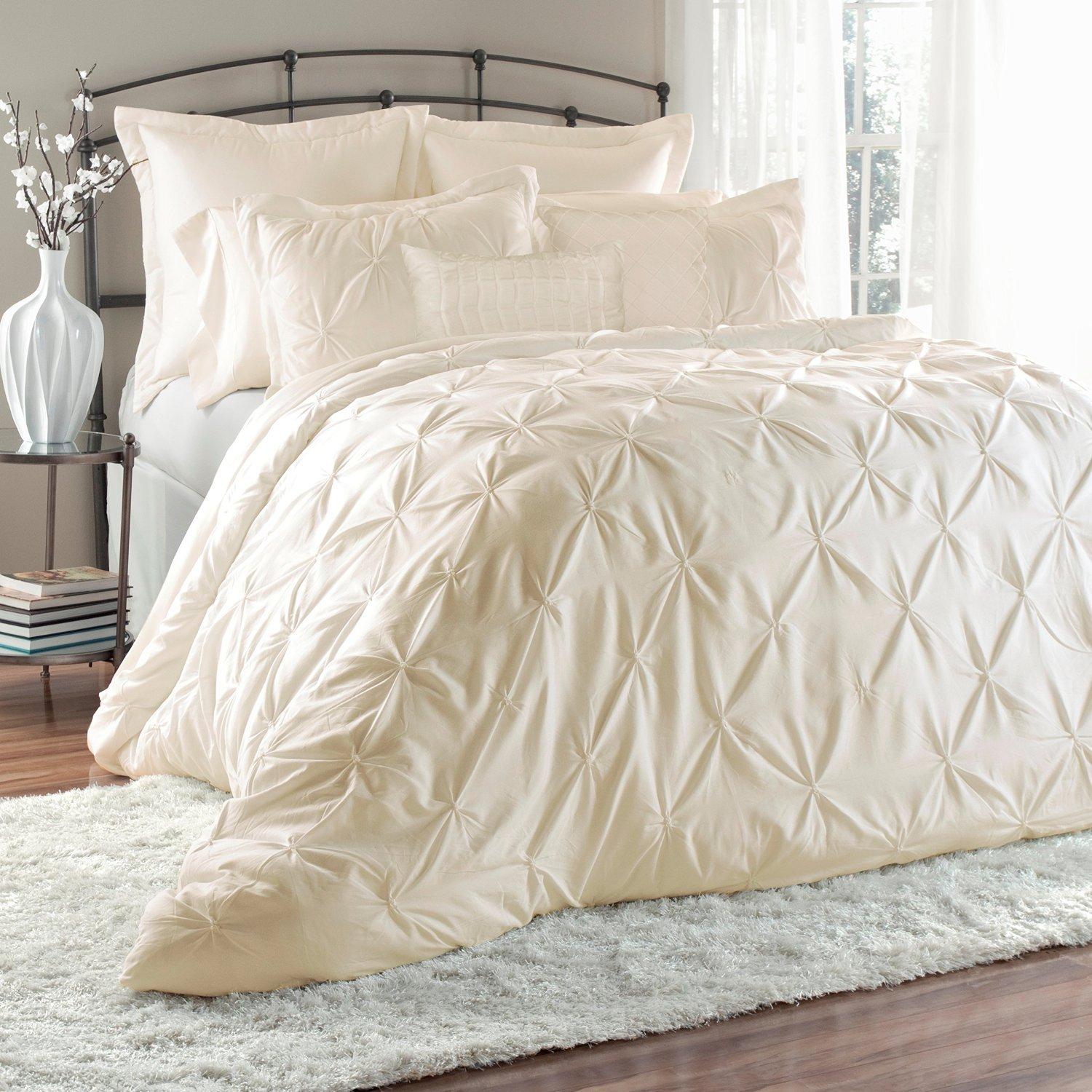 jacquard set piece comforter ivory rianna purple sets king