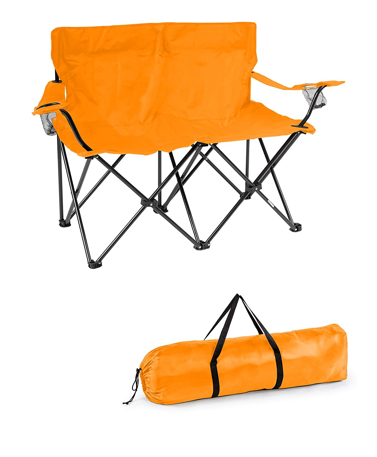 Trademark Innovations 31.5H Loveseat Style Double Camp Chair with Steel Frame