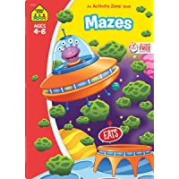 School Zone - Mazes Workbook - 64 Pages, Ages 4 to 6, Preschool, Kindergarten, Maze Puzzles, Wide Paths, Colorful…