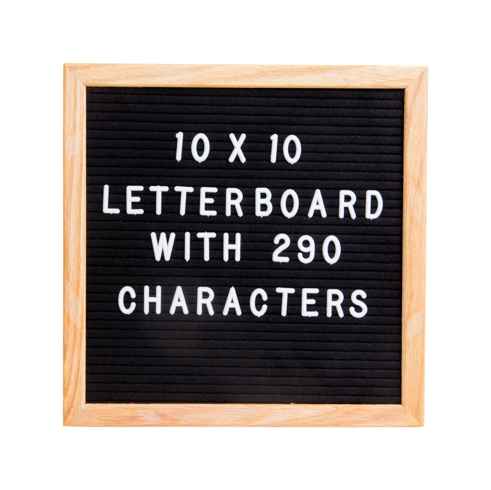 Letterboard - Premium Black Felt, 10''x10'' Oak Frame with 290 White Letters and storage bag
