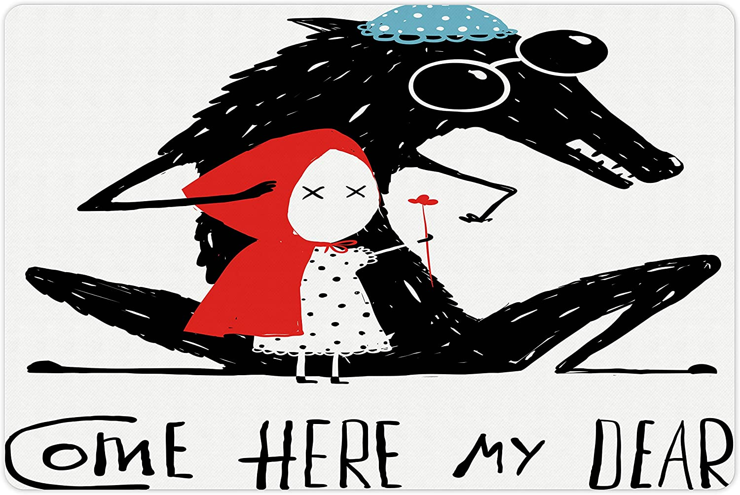 Lunarable Lifestyle Pet Mat for Food and Water, Come Here My Dear Words with Grandma Wolf and Snow White Kids Graphic Print, Rectangle Non-Slip Rubber Mat for Dogs and Cats, Teal Red Black