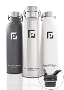 Glacier Point Vacuum Insulated Stainless Steel Water Bottle 25oz 17oz Double Walled Construction Premium Powder Coat Two Lids