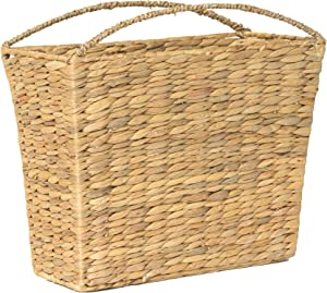 RGI Home Woven Wicker Storage Basket - Handcrafted Natural Magazine Holder Organizer Bin with Built In Curved Handles