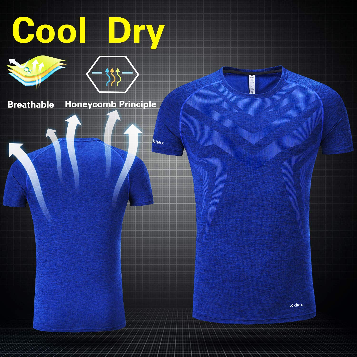 c3327cd90 Amazon.com: Akilex Men's Tight Sports Short Sleeve Comfortable Quick Dry  Fitness Running Shirt Top (3006 Blue, XXL): Clothing