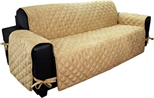 Floppy Ears Design Waterproof Faux Suede Microfiber Stay in Place Couch Protector Furniture Cover (Large Three Cushion Couch, Tan)