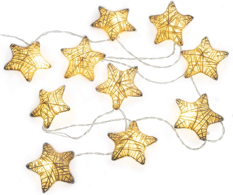 Metal covered twinkle star lights