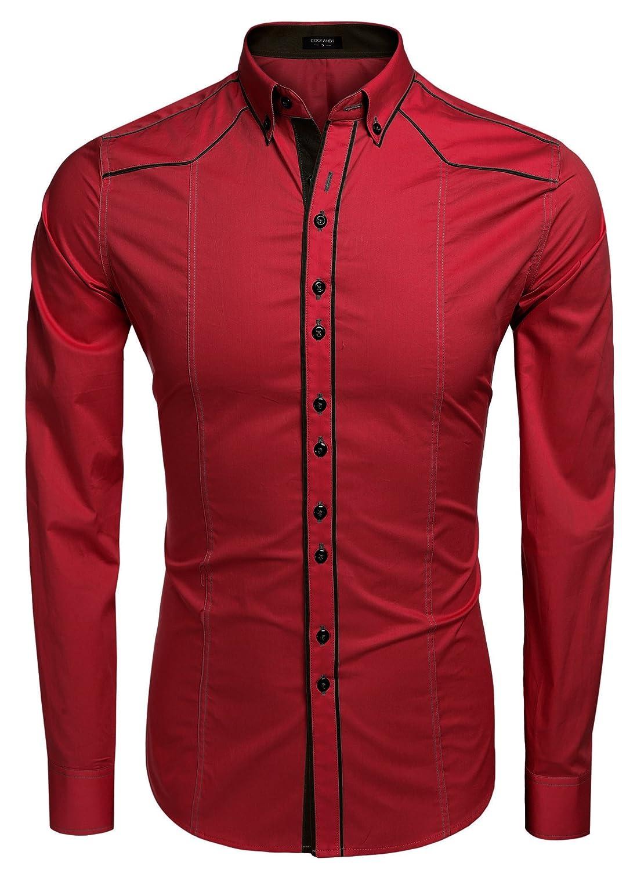COOFANDY Camisa Casual Hombre Manga Larga de Vestir Color Contraste de Moda