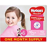 Huggies Ultra Dry Nappies, Girls, Size 6 Junior (16kg+), 112 Count, One-Month Supply, (Packaging May Vary)