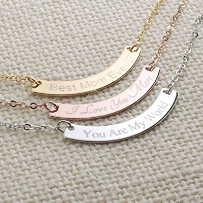 A Curved Your Name Necklace Diamond Engraving 16k Gold Silver Rose Gold -Plated Dainty GPS Coordinate Personalized Initial Bridesmaid Gift and Wedding Mother's day Gift
