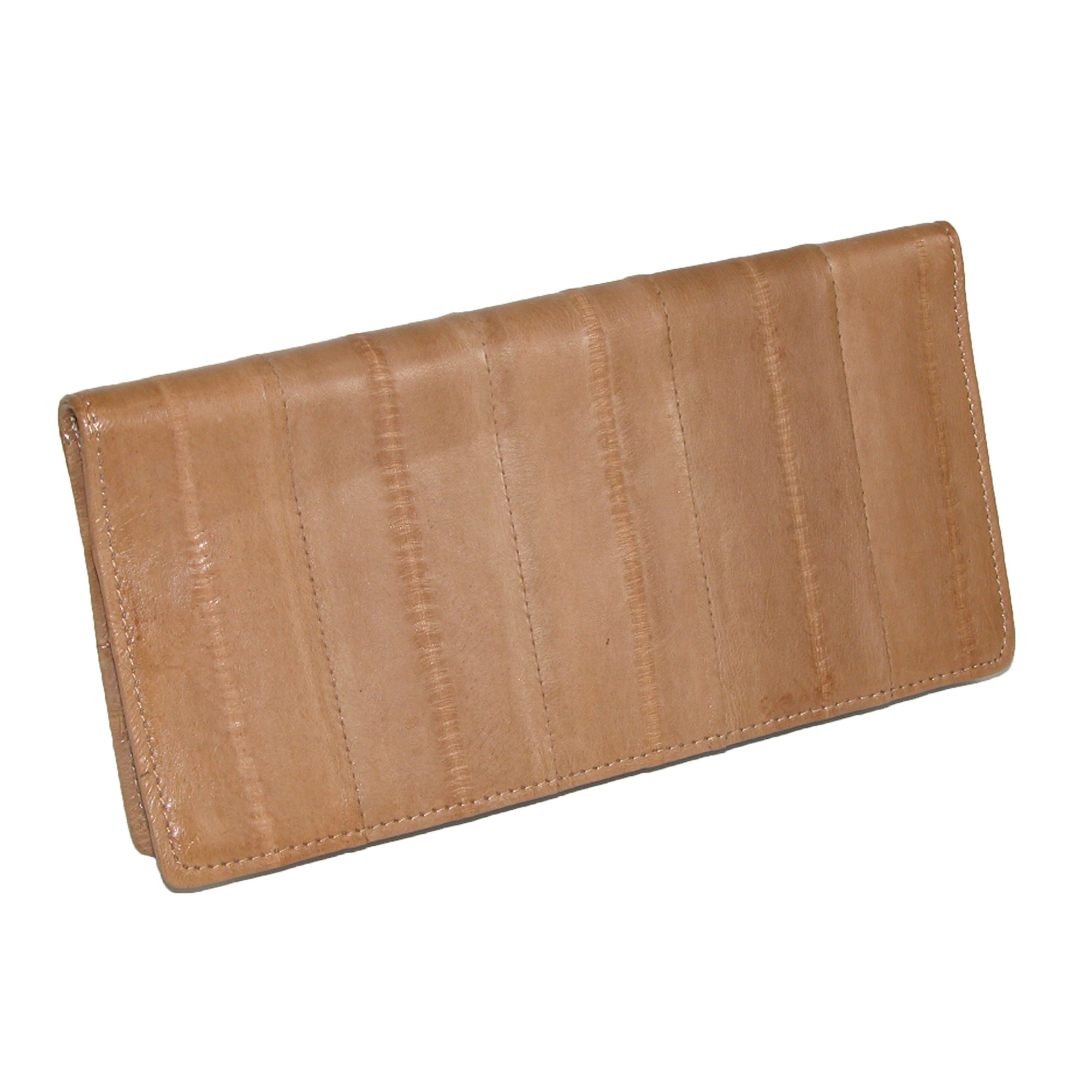 MJ Masters Womens Eel Skin Basic Checkbook Cover, Tan