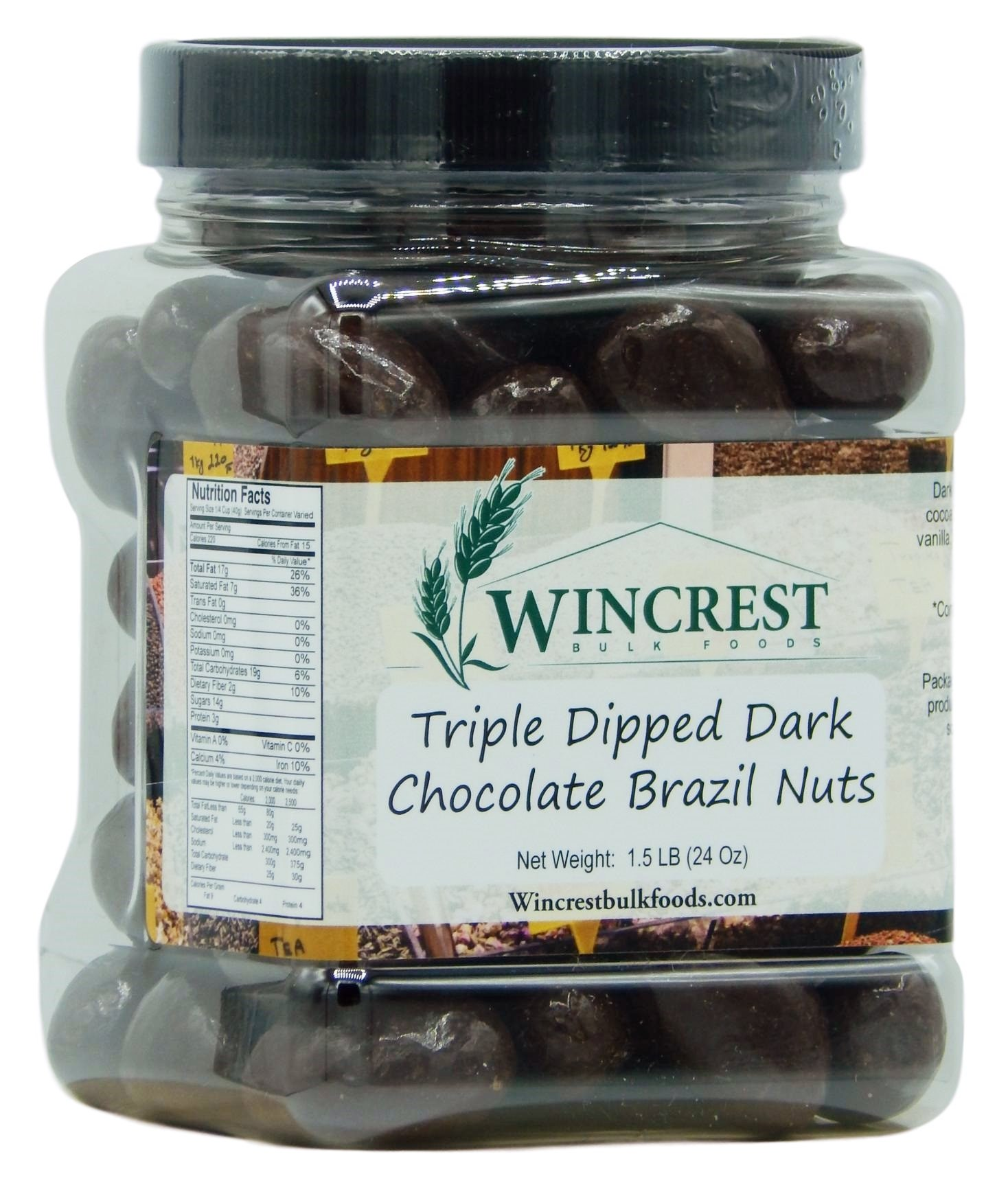 Triple Dipped Dark Chocolate Brazil Nuts - 1.5 Lb Tub by WinCrest Bulk Foods