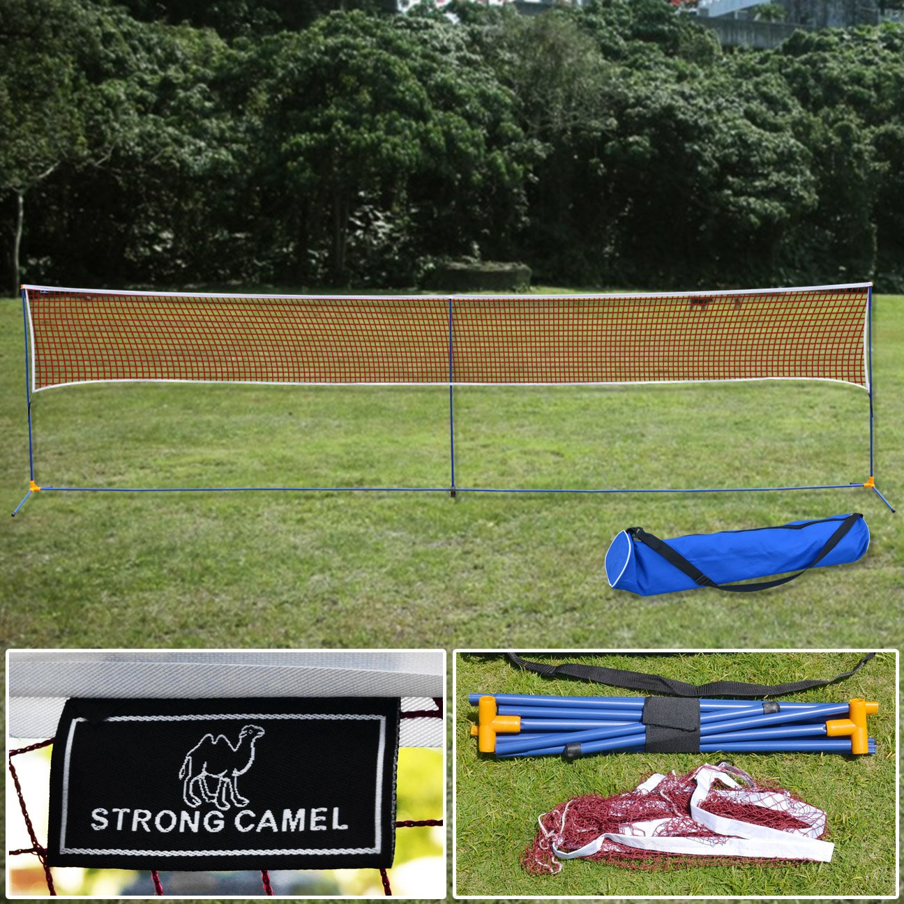 Strong Camel LARGE Volleyball Badminton Tennis Net Portable Training Beach with carrying bag STAND
