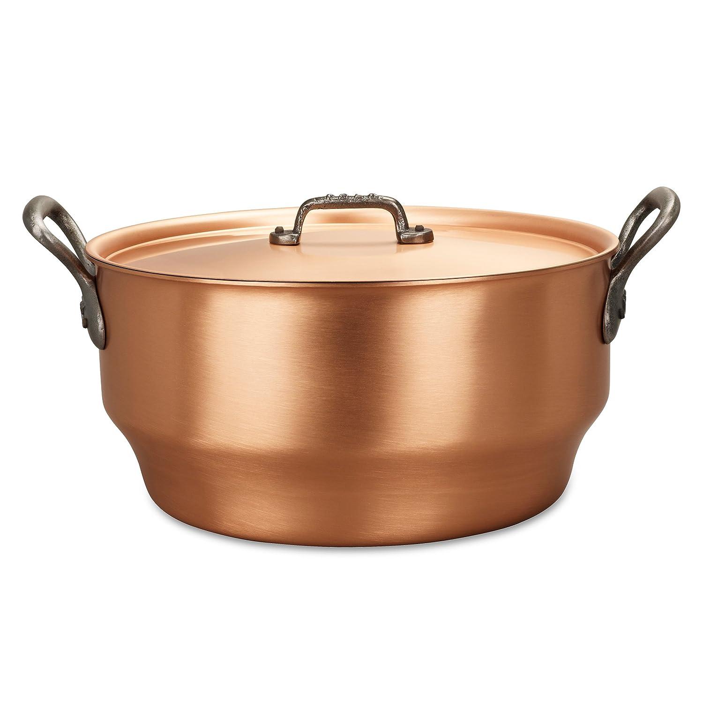 Falk culinair 28 cm cobre olla con mango de hierro fundido y cubierta a juego - 7,5 litros: Amazon.es: Hogar