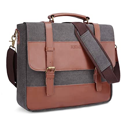 7a2adb0f656 Image Unavailable. Image not available for. Color  Messenger Bag Fits 15.6 Inch  Laptop for Men and Women Vintage Genuine Leather Shoulder Bag Durable