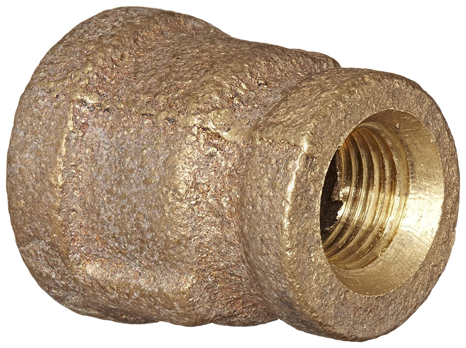 Anderson Metals 38119 Red Brass Pipe Fitting, Reducing Coupling, 1/4' x 1/8' Female Pipe 1/4 x 1/8 Female Pipe 38119-0402