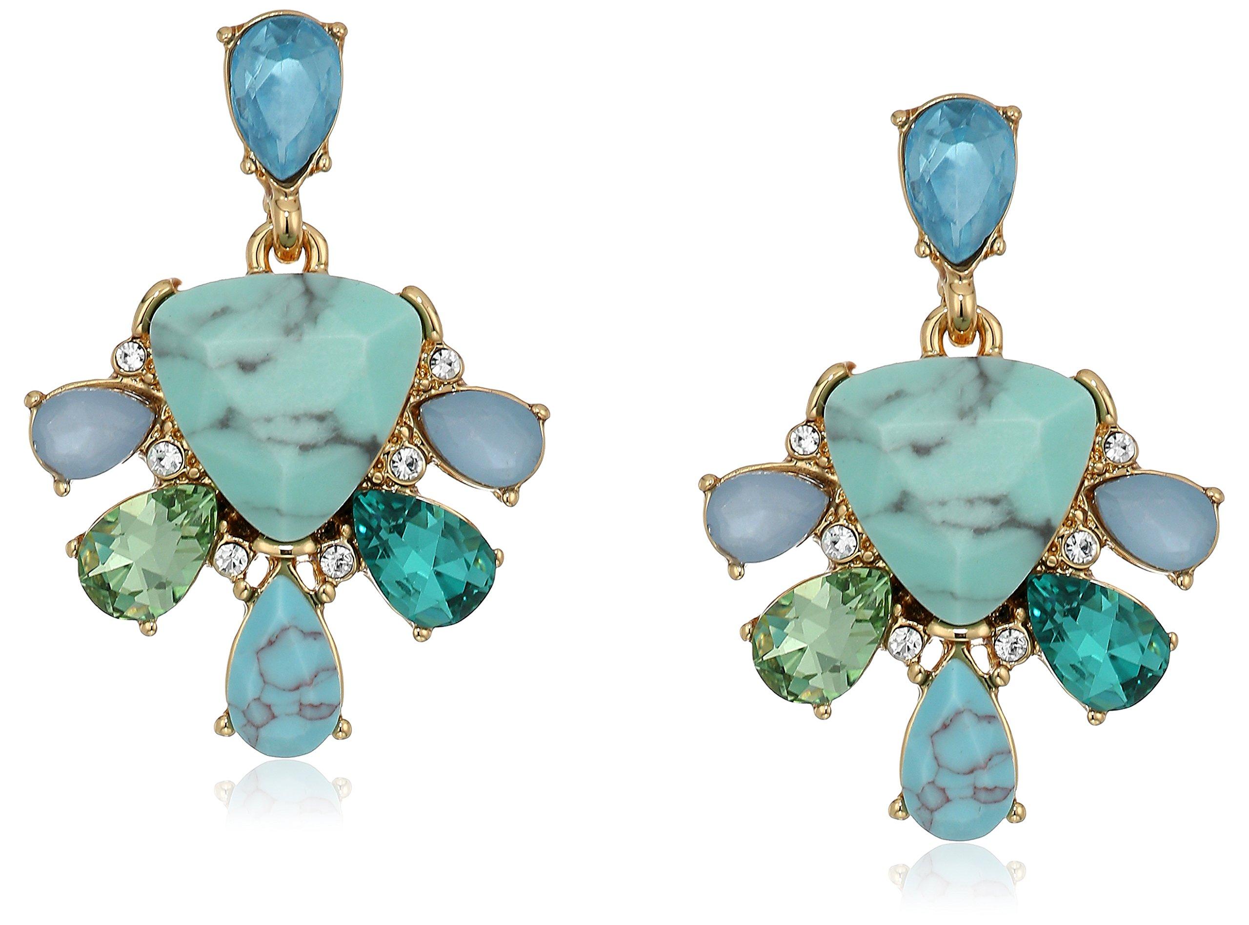 Carolee Turquoise Garden Collection Women's Double Drop Earrings, Gold/Blue Tonal