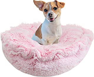 product image for Bessie and Barnie Ultra Plush Bubble Gum/ Snow White Deluxe Luxury Shag Dog/Pet Lily Pod Bed Machine Washable
