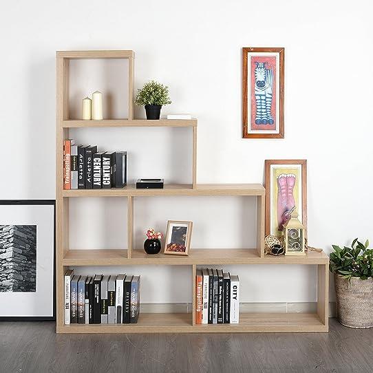Etagère Escalier Bibliothèque Rangement 43/155X29X163Cm 4 Étages