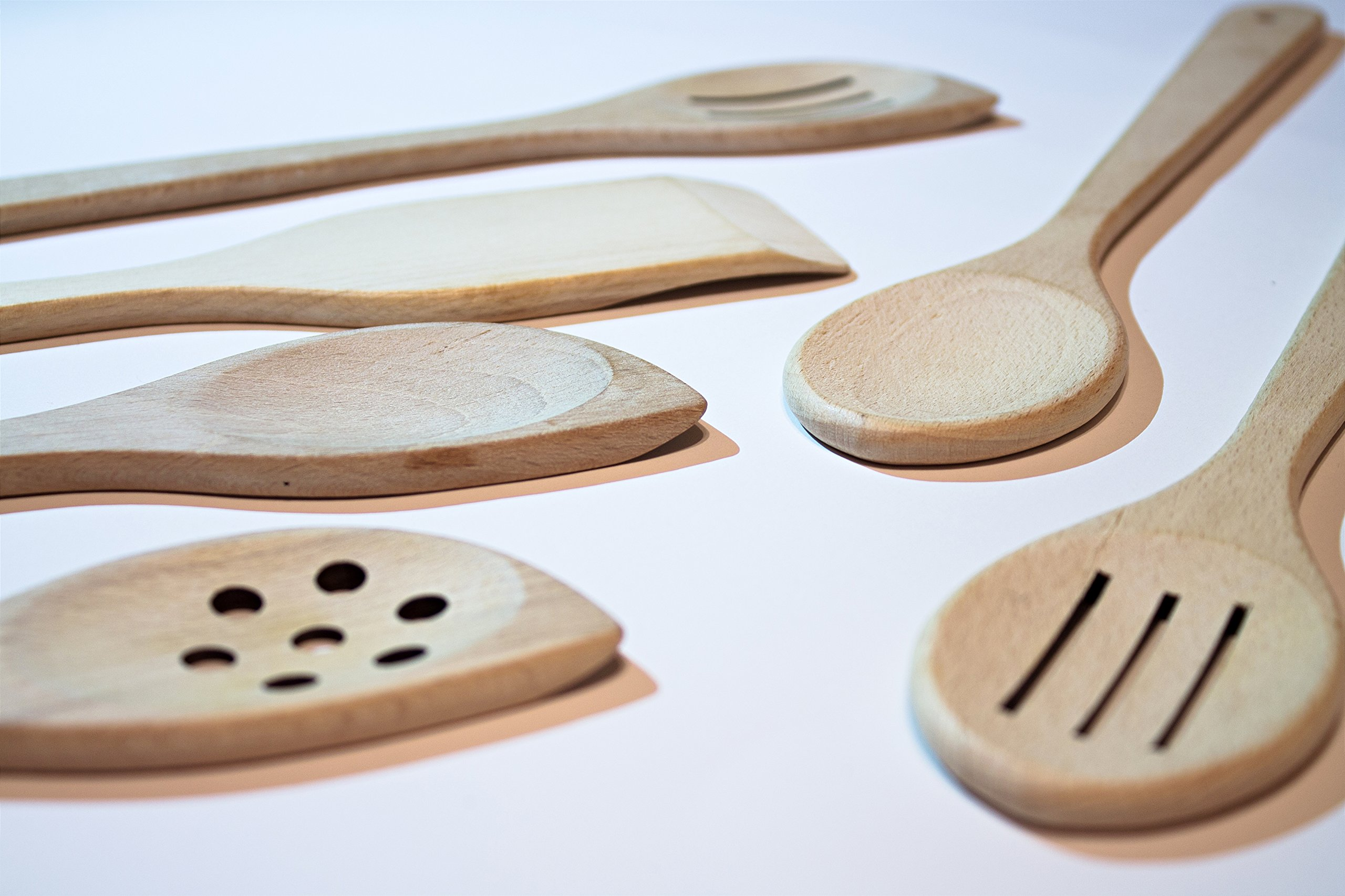 Healthy Cooking Utensils Set - 6 Wooden Spoons For Cooking – Natural Nonstick Hard Wood Spatula and Spoons – Uncoated and Unglued – Durable Eco-friendly and Safe Kitchen Cooking Tools. by ECOSALL (Image #3)