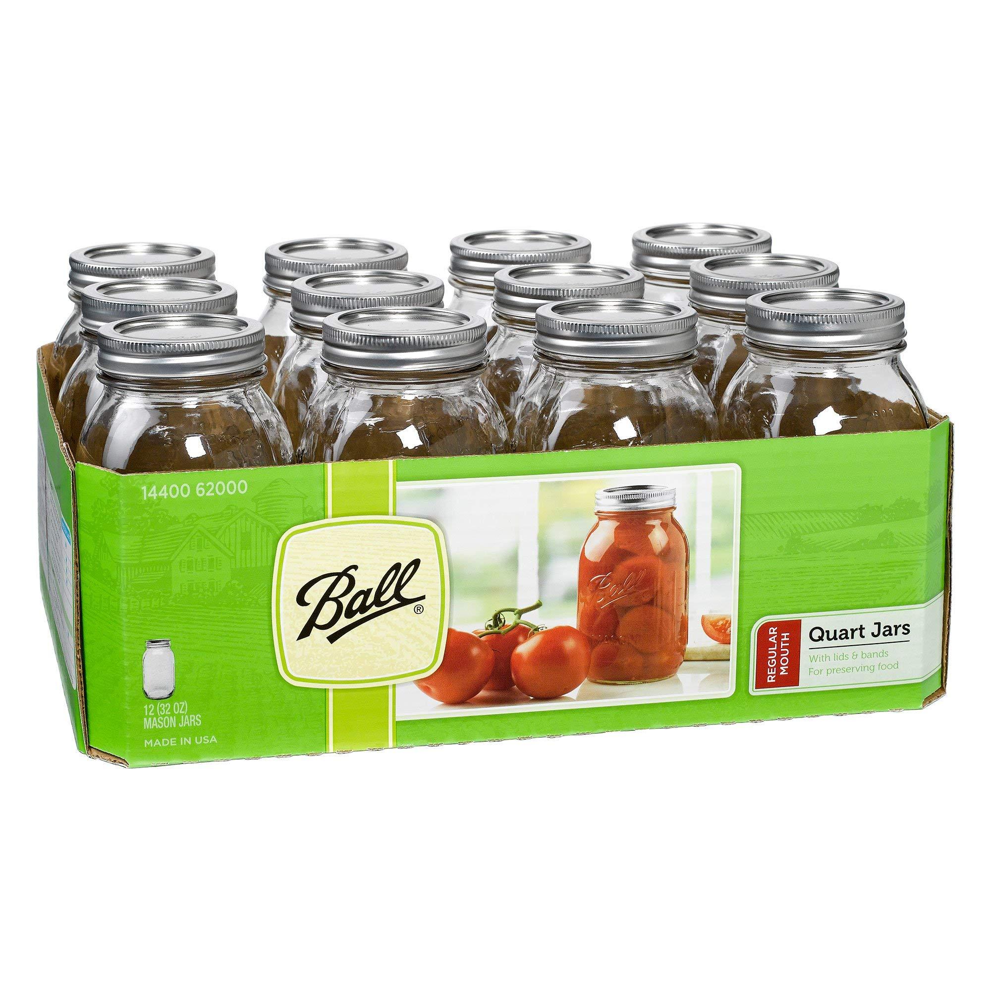 Ball Regular Mouth Clear Glass Canning Quart Mason Jars w/Lids, 32 Oz (72 Pack) by Ball Jars (Image #4)
