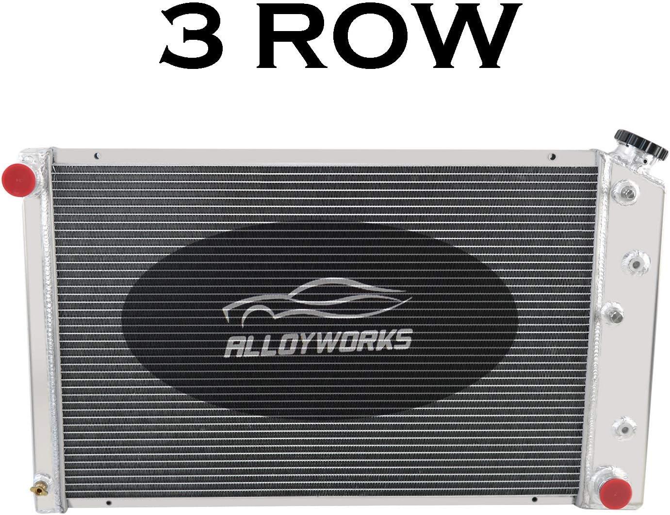 ALLOYWORKS 3 Row Core Aluminum Race Radiator For 1970-1981 Chevy Nova//Camaro//El Camino AT//MT