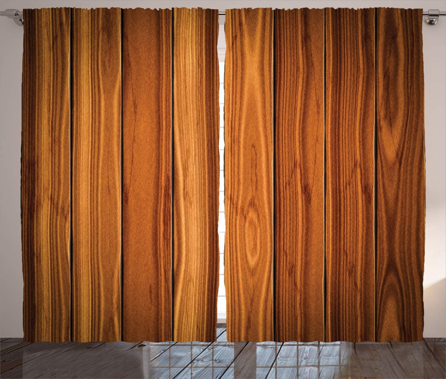 Ambesonne Rustic Curtains Vertical Wooden Planks Image Cottage Cabin Life In Countryside Theme Living Room Bedroom Window Drapes 2 Panel Set 108 X 84 Caramel Orange Amazon Ca Home Kitchen