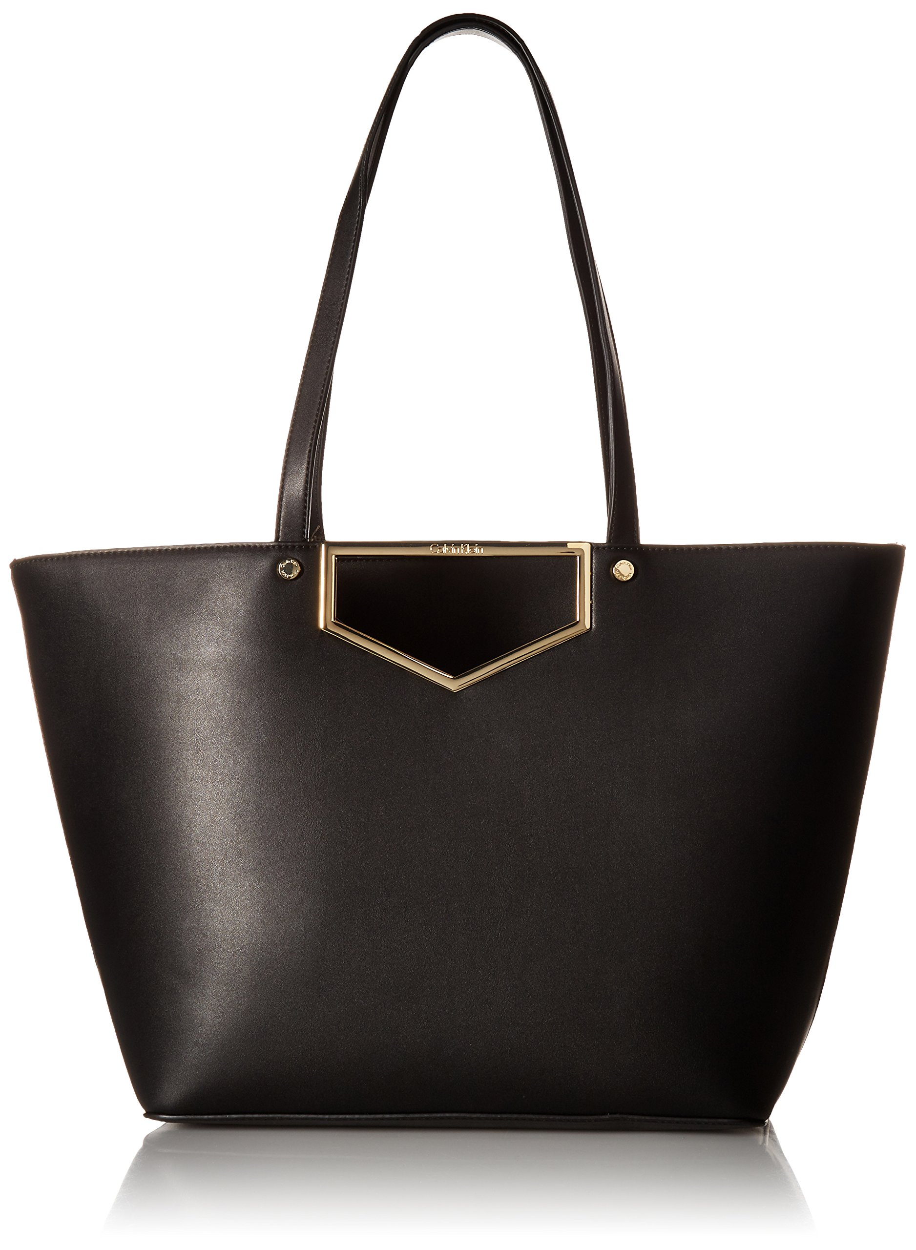 Calvin Klein Novelty Cut Out Hardware Tote, Black/Gold by Calvin Klein