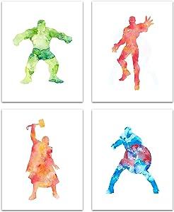 Superhero Avengers Wall Art - Watercolor Marvel Poster Prints For Boys Bedroom, Game Room Decor - Avengers Room Decor For Boys Room - Great Marvel Decor Gifts For Boys, Girls Avengers Super Hero Theme Room Marvel Wall Decor - Set of 4 (8x10) Prints - Unframed