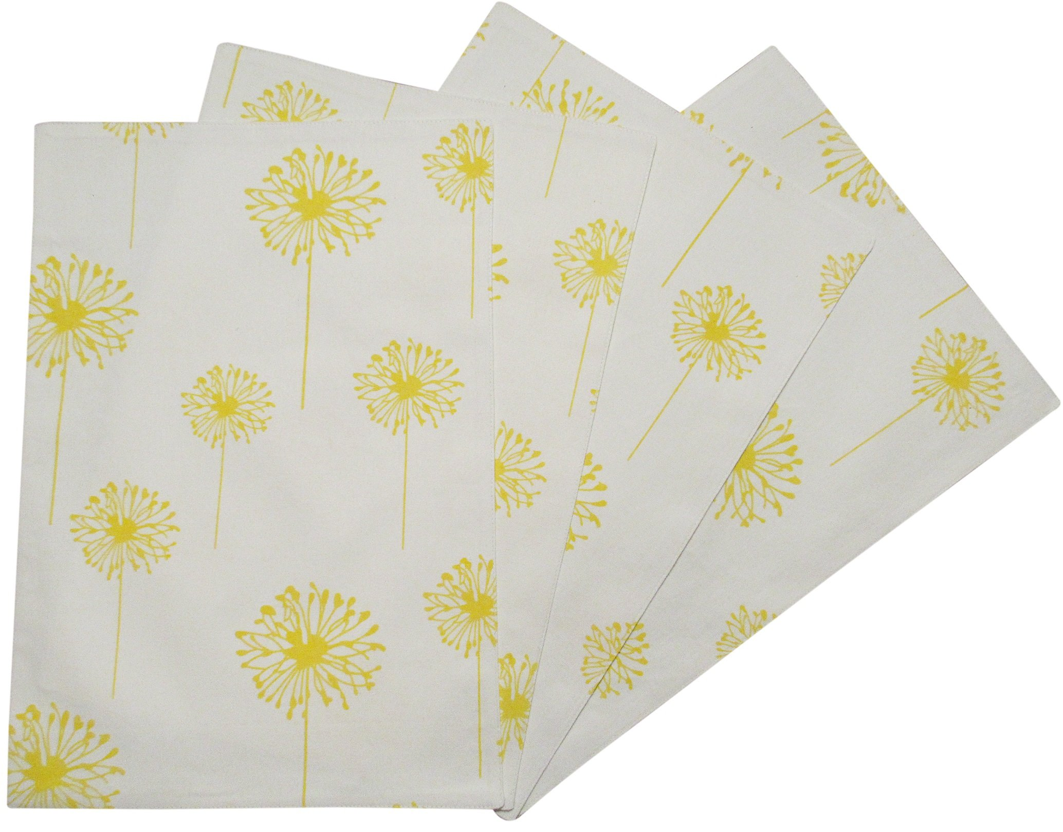 Crabtree Collection Yellow Dandelion Table Placemat Set by The Top 4-Pack Place Mats from 100% Cotton| Fresh, Trendy Design & Eye-Catching Colors| Dining Table Accessory for Home, Restaurant, Café