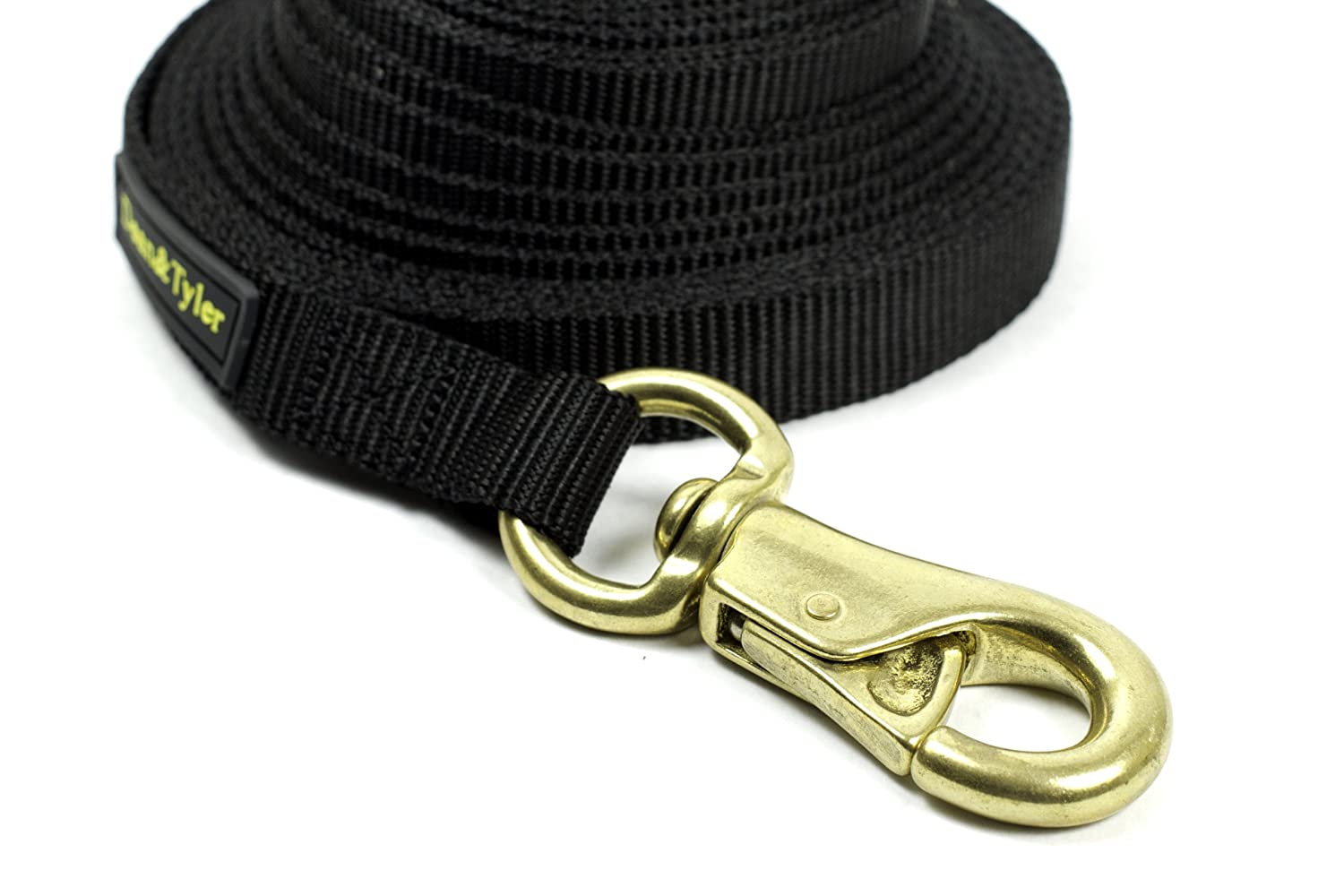 Dean & Tyler Double Ply Nylon Dog Leash with Massive Brass Snap, 25-Feet by 3 4-Inch, Black