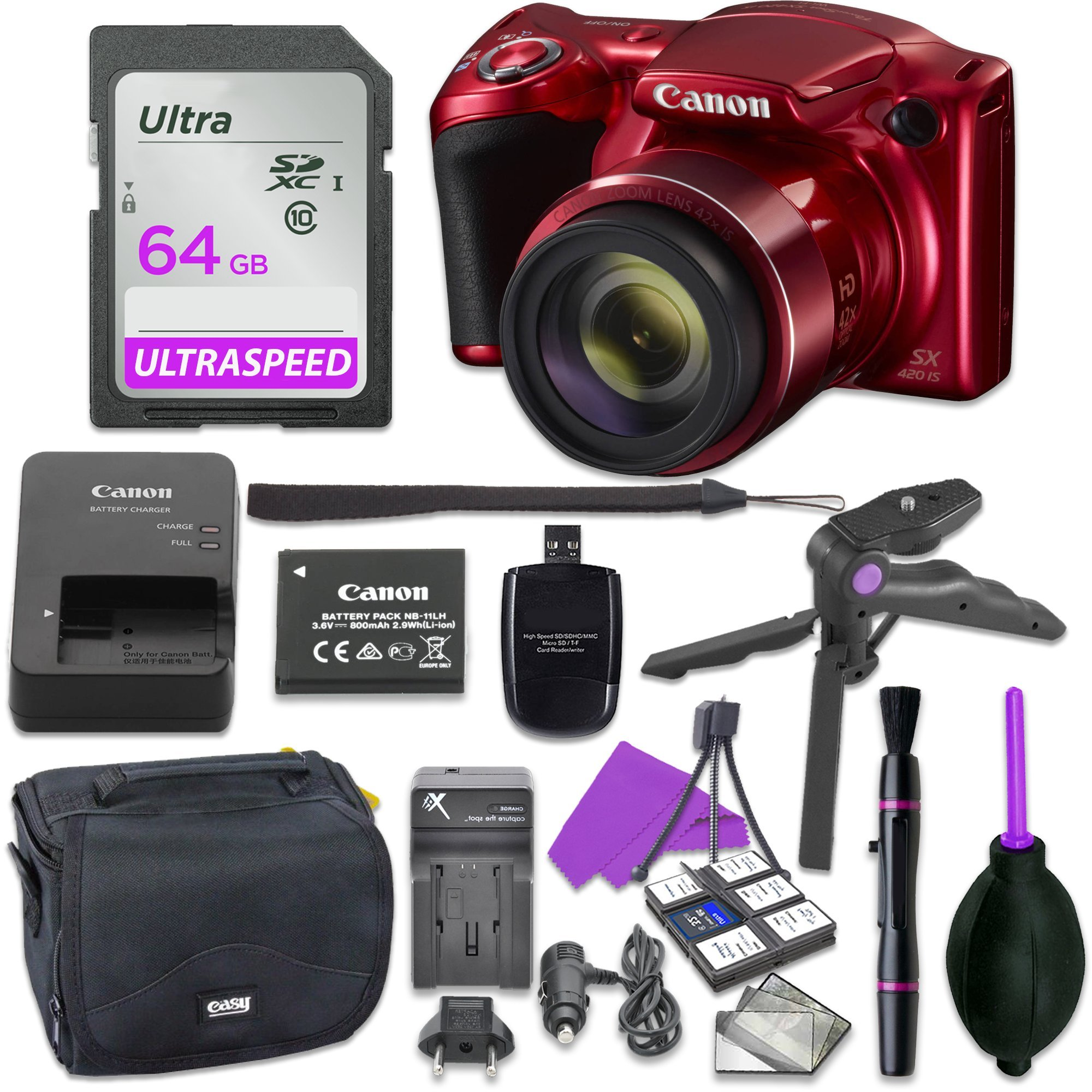 Canon Powershot SX420 Point & Shoot Digital Camera Bundle w/ Tripod Hand Grip , 64GB SD Memory , Case and More (Red)