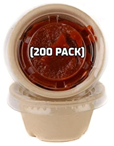 [200 Pack] 2 Oz Compostable Condiment Souffle Bagasse Cups with Lids - Portion Cup with Lid Sugarcane, Biodegradable Perfect for Sauces, Samples, Condiments, Slime, Jello Shot, Food Storage