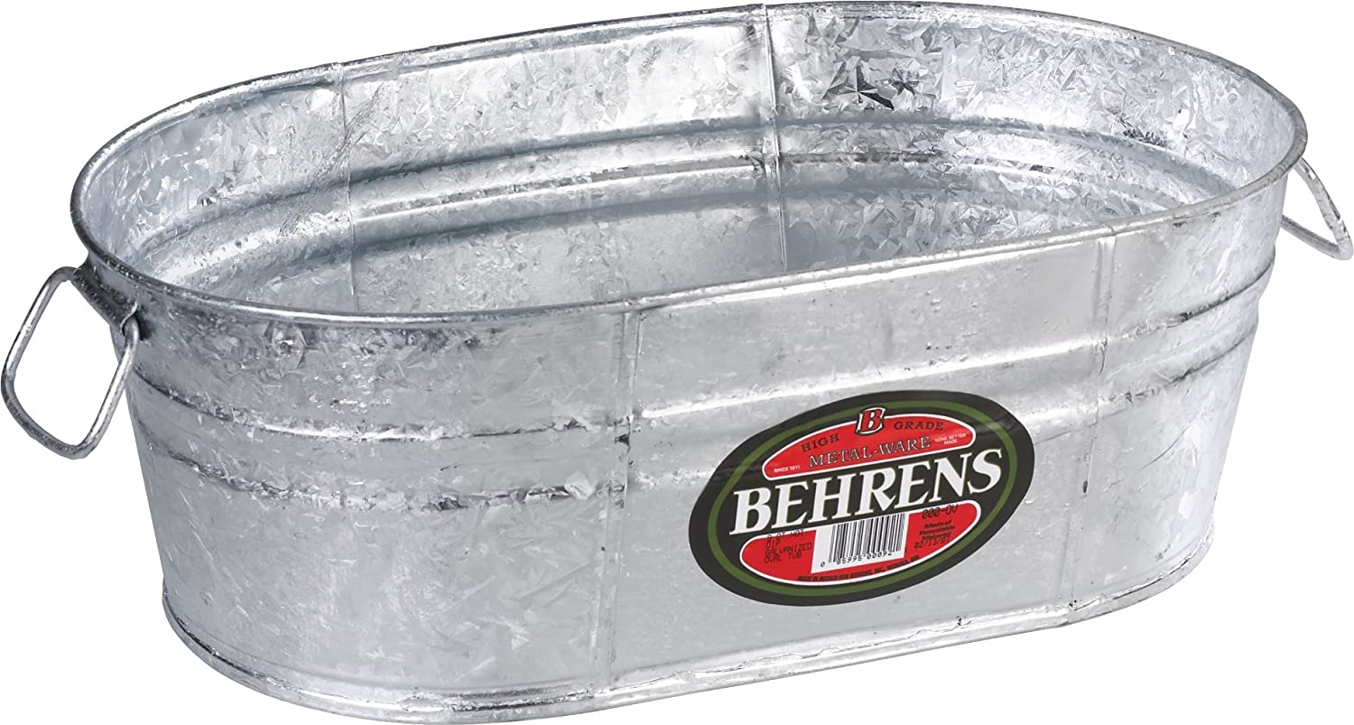 Behrens 000-OV, 7.5 Liter (2 Gallon) Hot Dipped Steel Oval Tub