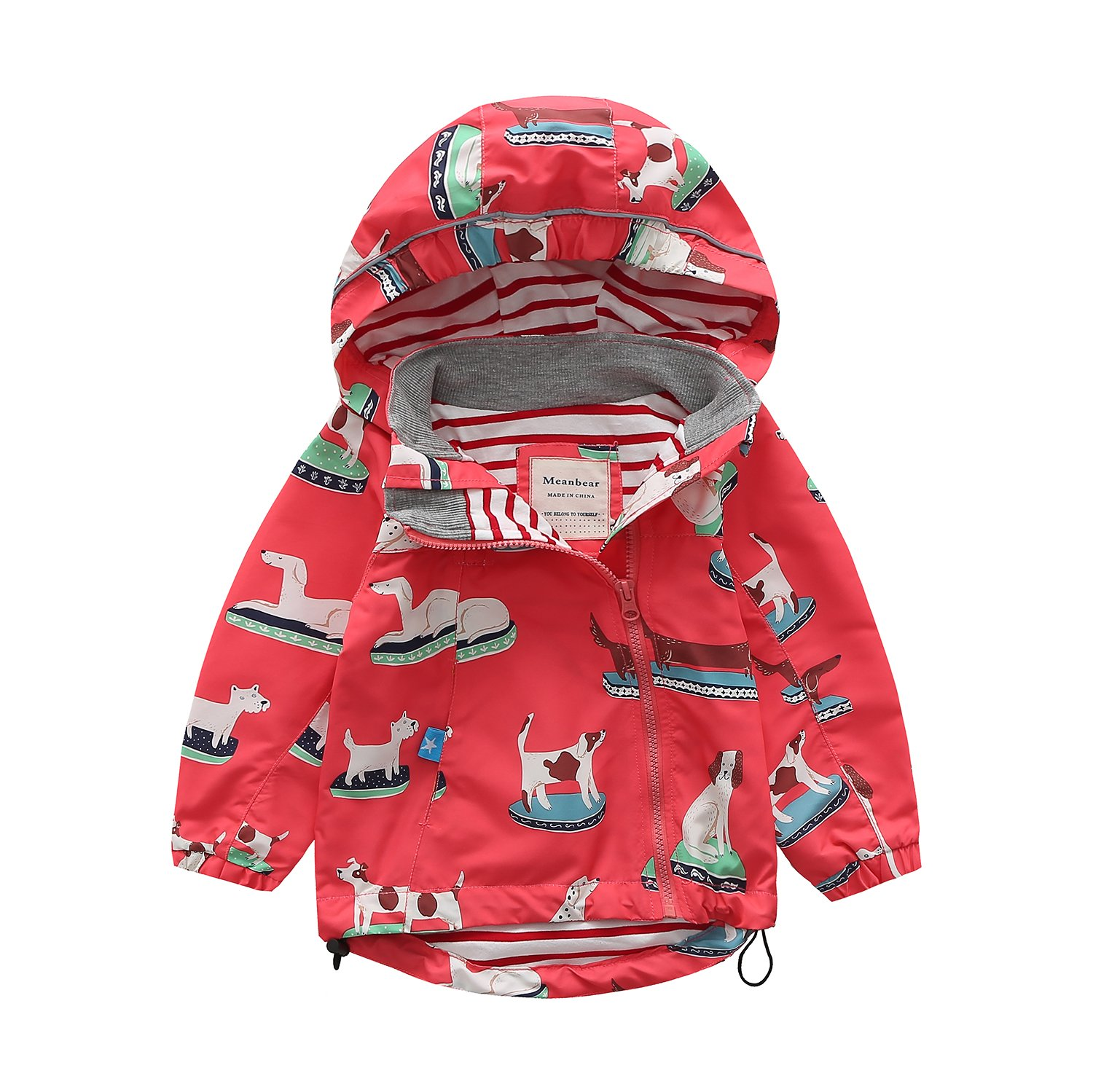 Meanbear Boys & Girls Hooded Cotton Lined Jacket Children's Outdoor Light Windbreaker Kids Rain Jacket Dog Printed (6 Years)