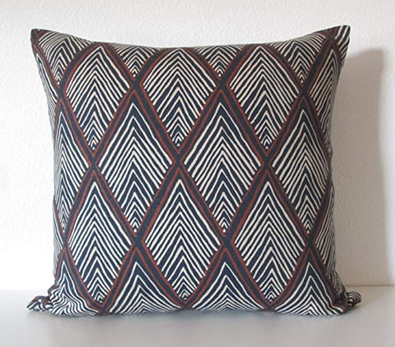 Amazoncom Rhombi Indigo Triangle Geometric Blue Brown Decorative