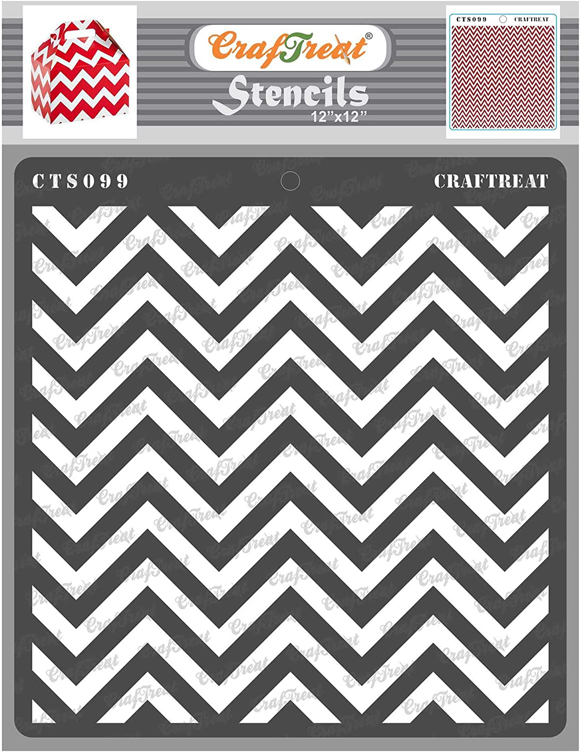 CrafTreat Chevron Wall Stencils for Painting Large Pattern - Chevron - 12x12 Inches - Reusable DIY Art and Craft Stencils - Chevron Stencils for Painting on Wood - Chevron Stencil for Walls