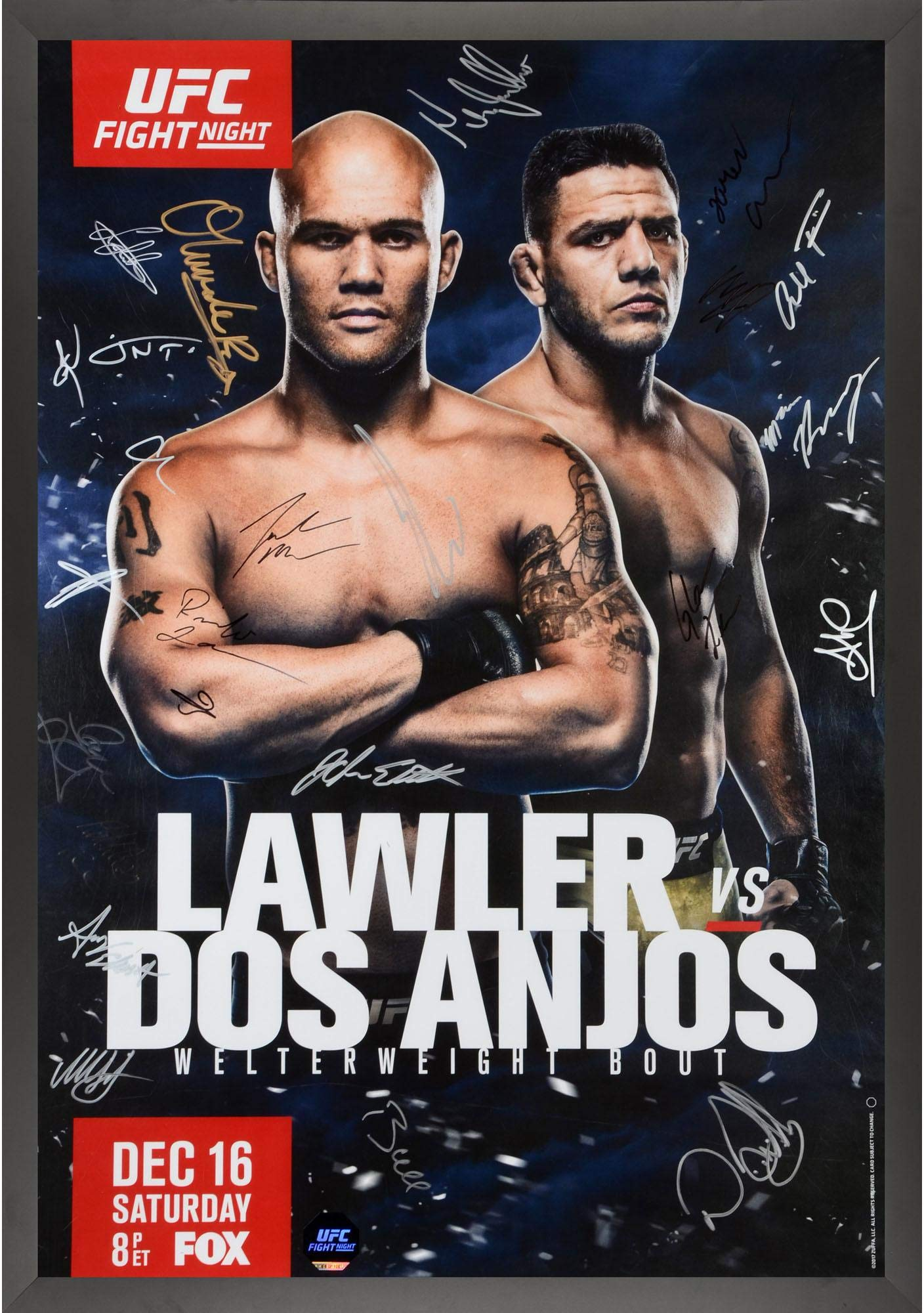 """UFC on FOX 26 Lawler vs. Dos Anjos Framed Autographed 27"""" x 39"""" 22 Signature Fight Poster Fanatics Authentic Certified"""