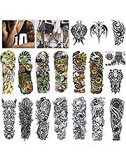 MelodySusie Full Arm Temporary Tattoo for Men Women, 18 Sheets Black Tattoo Body Sticker Tattoos, for Masked Balls, Festivals, Shows, Street Art